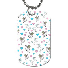 Unicorn, Pegasus And Hearts Dog Tag (two Sides) by IIPhotographyAndDesigns