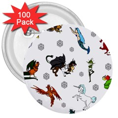 Dundgeon And Dragons Dice And Creatures 3  Buttons (100 Pack)  by IIPhotographyAndDesigns