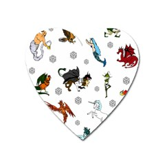 Dundgeon And Dragons Dice And Creatures Heart Magnet by IIPhotographyAndDesigns