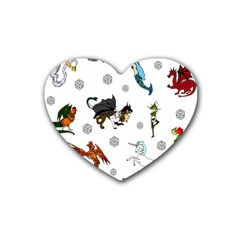 Dundgeon And Dragons Dice And Creatures Rubber Coaster (heart)  by IIPhotographyAndDesigns