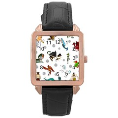Dundgeon And Dragons Dice And Creatures Rose Gold Leather Watch  by ImphavokImpressions