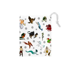 Dundgeon And Dragons Dice And Creatures Drawstring Pouches (small)  by IIPhotographyAndDesigns