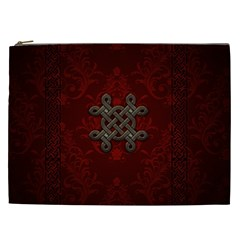 Decorative Celtic Knot On Dark Vintage Background Cosmetic Bag (xxl) by FantasyWorld7