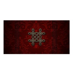 Decorative Celtic Knot On Dark Vintage Background Satin Shawl by FantasyWorld7