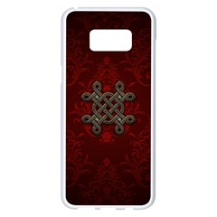 Decorative Celtic Knot On Dark Vintage Background Samsung Galaxy S8 Plus White Seamless Case by FantasyWorld7