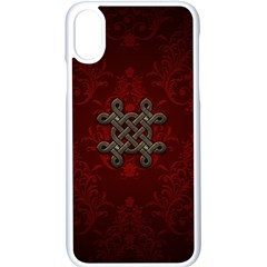 Decorative Celtic Knot On Dark Vintage Background Apple Iphone X Seamless Case (white) by FantasyWorld7