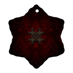 Decorative Celtic Knot On Dark Vintage Background Snowflake Ornament (two Sides) by FantasyWorld7