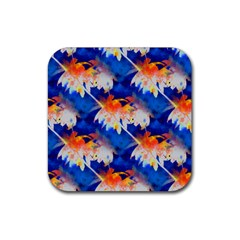 Palm Trees Tropical Beach Sunset Rubber Square Coaster (4 Pack) by CrypticFragmentsColors