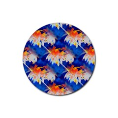 Palm Trees Tropical Beach Sunset Rubber Coaster (round)
