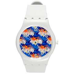 Palm Trees Tropical Beach Sunset Round Plastic Sport Watch (m)