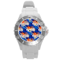 Palm Trees Tropical Beach Sunset Round Plastic Sport Watch (l) by CrypticFragmentsColors