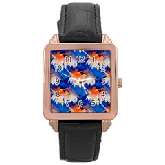 Palm Trees Tropical Beach Sunset Rose Gold Leather Watch  by CrypticFragmentsColors