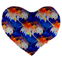 Palm Trees Tropical Beach Sunset Large 19  Premium Flano Heart Shape Cushion by CrypticFragmentsColors