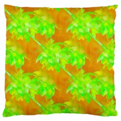 Coconut Palm Trees Caribbean Vibe Large Cushion Case (one Side) by CrypticFragmentsColors
