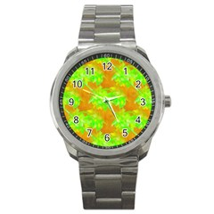 Coconut Palm Trees Caribbean Vibe Sport Metal Watch by CrypticFragmentsColors