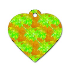 Coconut Palm Trees Caribbean Vibe Dog Tag Heart (two Sides)