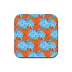 Coconut Palm Trees Tropical Dawn Rubber Square Coaster (4 Pack)  by CrypticFragmentsColors