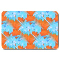 Coconut Palm Trees Tropical Dawn Large Doormat  by CrypticFragmentsColors