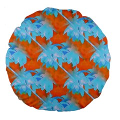 Coconut Palm Trees Tropical Dawn Large 18  Premium Flano Round Cushions by CrypticFragmentsColors