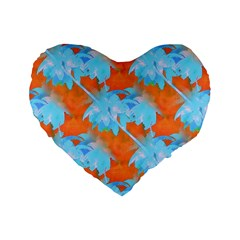 Coconut Palm Trees Tropical Dawn Standard 16  Premium Flano Heart Shape Cushions by CrypticFragmentsColors