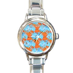 Coconut Palm Trees Tropical Dawn Round Italian Charm Watch by CrypticFragmentsColors