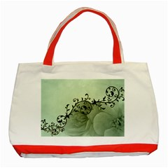 Elegant, Decorative Floral Design In Soft Green Colors Classic Tote Bag (red)