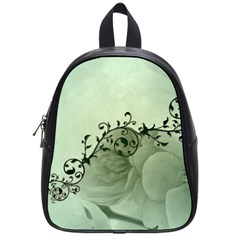 Elegant, Decorative Floral Design In Soft Green Colors School Bag (small) by FantasyWorld7