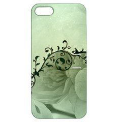 Elegant, Decorative Floral Design In Soft Green Colors Apple Iphone 5 Hardshell Case With Stand by FantasyWorld7
