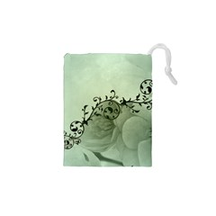 Elegant, Decorative Floral Design In Soft Green Colors Drawstring Pouches (xs)  by FantasyWorld7