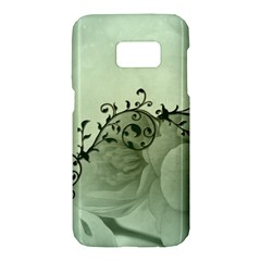 Elegant, Decorative Floral Design In Soft Green Colors Samsung Galaxy S7 Hardshell Case  by FantasyWorld7