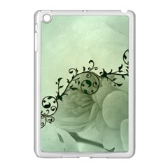 Elegant, Decorative Floral Design In Soft Green Colors Apple Ipad Mini Case (white) by FantasyWorld7