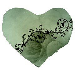 Elegant, Decorative Floral Design In Soft Green Colors Large 19  Premium Heart Shape Cushions by FantasyWorld7
