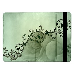 Elegant, Decorative Floral Design In Soft Green Colors Samsung Galaxy Tab Pro 12 2  Flip Case by FantasyWorld7