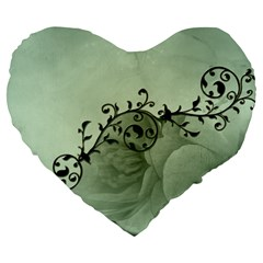 Elegant, Decorative Floral Design In Soft Green Colors Large 19  Premium Flano Heart Shape Cushions by FantasyWorld7