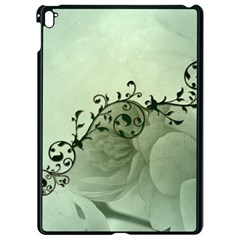 Elegant, Decorative Floral Design In Soft Green Colors Apple Ipad Pro 9 7   Black Seamless Case by FantasyWorld7