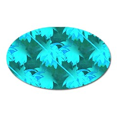 Coconut Palm Trees Caribbean Sea Oval Magnet by CrypticFragmentsColors