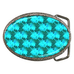 Coconut Palm Trees Blue Green Sea Small Print Belt Buckles by CrypticFragmentsColors