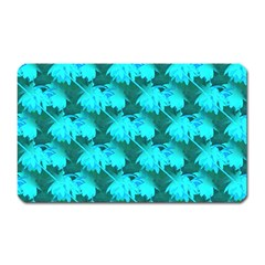 Coconut Palm Trees Blue Green Sea Small Print Magnet (rectangular) by CrypticFragmentsColors