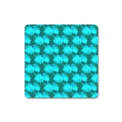 Coconut Palm Trees Blue Green Sea Small Print Square Magnet by CrypticFragmentsColors