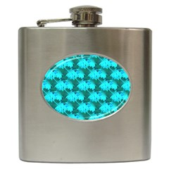 Coconut Palm Trees Blue Green Sea Small Print Hip Flask (6 Oz) by CrypticFragmentsColors