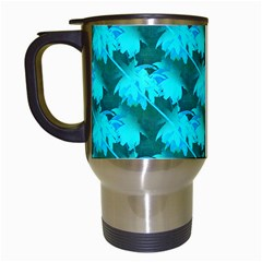 Coconut Palm Trees Blue Green Sea Small Print Travel Mugs (white) by CrypticFragmentsColors