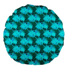 Coconut Palm Trees Blue Green Sea Small Print Large 18  Premium Flano Round Cushions by CrypticFragmentsColors