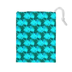 Coconut Palm Trees Blue Green Sea Small Print Drawstring Pouches (large)  by CrypticFragmentsColors