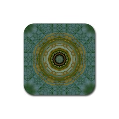 Modern Fantasy Rococo Flower And Lilies Rubber Coaster (square)  by pepitasart