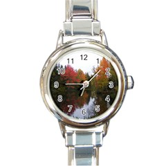 Autumn Pond Round Italian Charm Watch by IIPhotographyAndDesigns