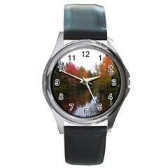 Autumn Pond Round Metal Watch by IIPhotographyAndDesigns