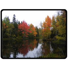Autumn Pond Double Sided Fleece Blanket (large)  by IIPhotographyAndDesigns