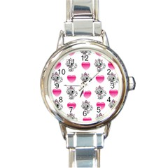 Evil Sweetheart Kitty Round Italian Charm Watch by IIPhotographyAndDesigns