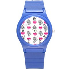 Evil Sweetheart Kitty Round Plastic Sport Watch (s) by IIPhotographyAndDesigns
