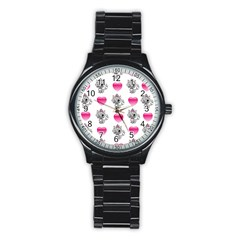Evil Sweetheart Kitty Stainless Steel Round Watch by IIPhotographyAndDesigns